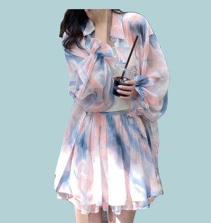 Podwójny zestaw z dżerseju jasny różowy-niebieski neonowy