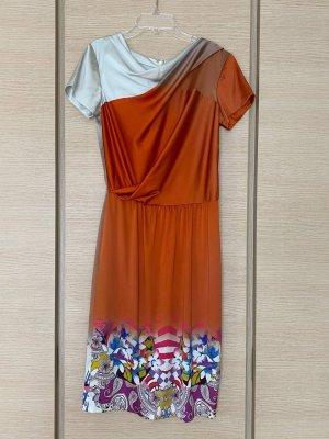 Etro Maxi Dress neon orange-light grey