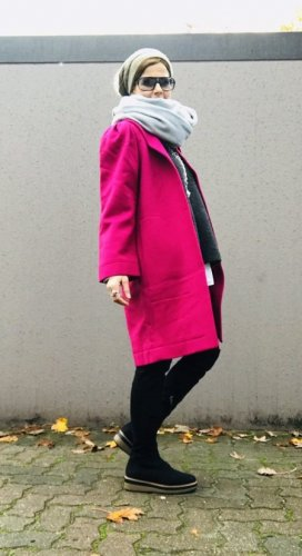 Dress In Wollmantel magenta Casual-Look Wolle
