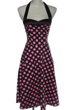 dress tells Halterjurk zwart-roze volledige print klassieke stijl