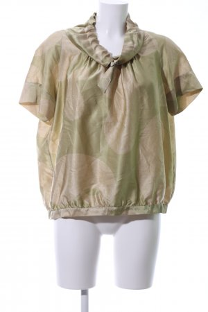 Dries van Noten Kurzarm-Bluse khaki-creme abstraktes Muster Casual-Look