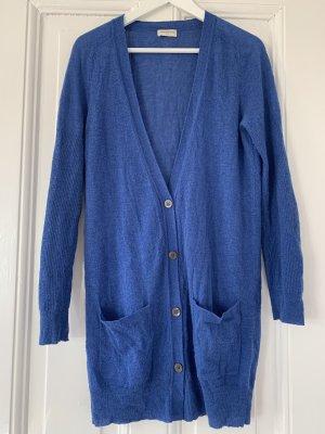 Dries van Noten Strickjacke V-Ausschnitt Wolljacke in Blau langer Cardigan mit aufgesetzten Taschen S