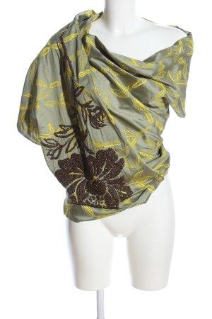 Dries van Noten Wraparound Blouse khaki-primrose allover print extravagant style