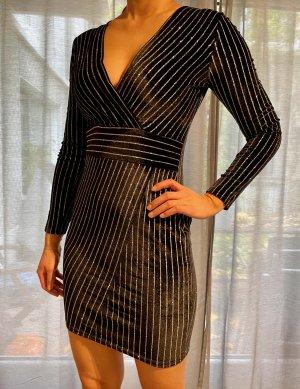 Drole de Copine Kleid S 36 Samt Silber Glitzer Minikleid Bodycon Top Silvester
