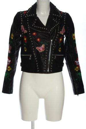 Drole de copine Kurtka z imitacji skóry czarny Wzór w kwiaty W stylu casual