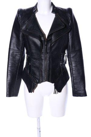 Drole de copine Kunstlederjacke schwarz extravaganter Stil