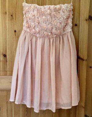 Dry Lake Kleid S NEU trägerlos Rosé Peach Rosa Bandeaukleid Ballkleid