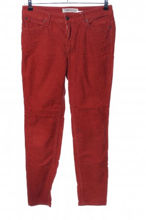 Drykorn Pantalon en velours côtelé rouge style décontracté
