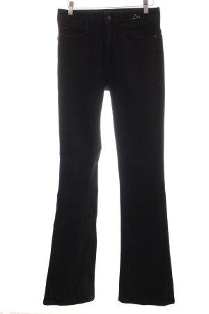 Drykorn Jeansschlaghose schwarz Logo-Applikation aus Leder