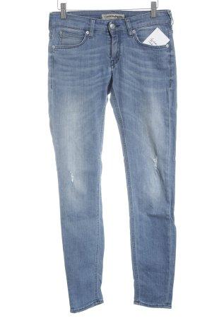 Drykorn Skinny Jeans weiß-stahlblau meliert Biker-Look