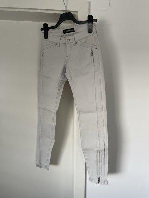 Drykorn Pantalon cigarette gris clair-blanc