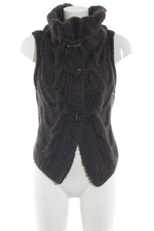 Drykorn Cardigan a maniche corte marrone scuro punto treccia stile casual