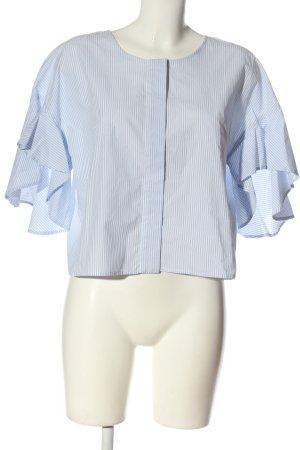 Drykorn Blouse à manches longues bleu-blanc imprimé allover style d'affaires