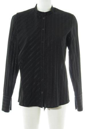 Drykorn Langarm-Bluse schwarz-grau Streifenmuster Business-Look