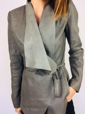 Drykorn Leder Jacke blazer grau 36/s neuwertig