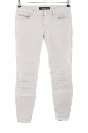 Drykorn Pantalone in pelle bianco sporco stile casual