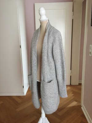 Drykorn Knitted Coat silver-colored mixture fibre