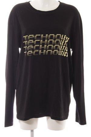 Drykorn Koszulka z długim rękawem czarny-jasnożółty Wydrukowane logo