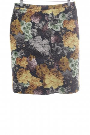 Drykorn Midirock dunkelgrün-dunkelgelb Blumenmuster extravaganter Stil