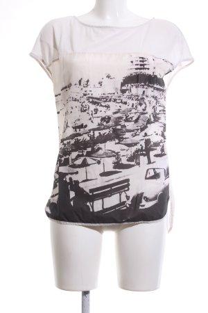 Drykorn Koszulka oversize biały-czarny Abstrakcyjny wzór W stylu casual