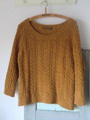 Drykorn Pullover gelb Zopfstrick Wolle Strickpullover Pulli maisgelb