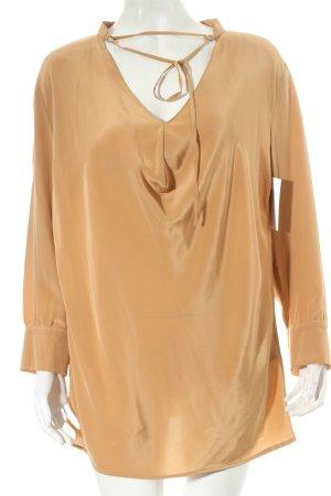Drykorn Blusa de seda marrón arena estilo sencillo