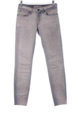 Drykorn Skinny Jeans hellgrau Biker-Look