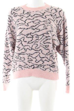 Drykorn Strickpullover pink-schwarz Allover-Druck Casual-Look