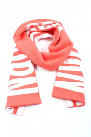 Drykorn Écharpe en tricot rouge-blanc lettrage imprimé style décontracté