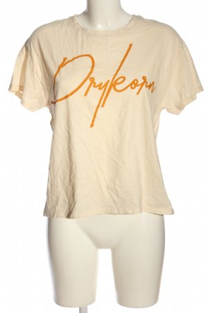 Drykorn T-Shirt wollweiß-hellorange Schriftzug gedruckt Casual-Look