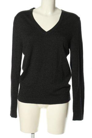 Drykorn V-Ausschnitt-Pullover schwarz meliert Casual-Look