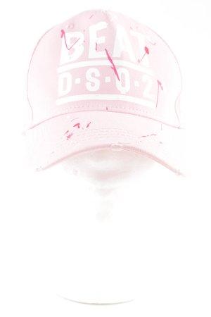 Dsquared2 Casquette de baseball blanc-rose lettrage imprimé style décontracté