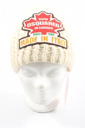 Dsquared2 Gorro blanco puro estampado temático look casual