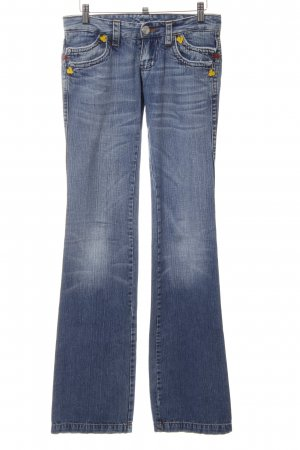 Dsquared2 Boot Cut Jeans kornblumenblau Schriftzug gestickt Metallelemente