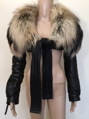 Dsquared2 leather jacket with fox fur, IT42-S
