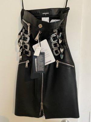 Dsquared2 Vestido de cuero negro-color plata Cuero