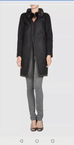 Dsquared2 Futrzany płaszcz czarny-srebrny