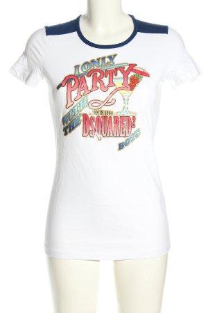 Dsquared2 Camiseta estampada blanco letras impresas look casual