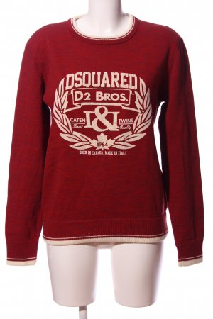 Dsquared2 Rundhalspullover rot-wollweiß Motivdruck Casual-Look