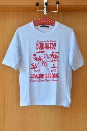 DSQUARED2 Shirt XS/S Hellblau Print Statement Kurzarm Cotton