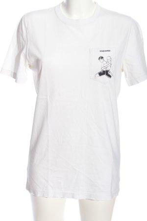 Dsquared2 T-Shirt weiß-schwarz Motivdruck Casual-Look