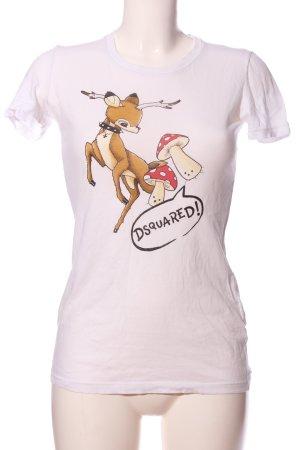 Dsquared2 T-Shirt weiß-braun Motivdruck Casual-Look