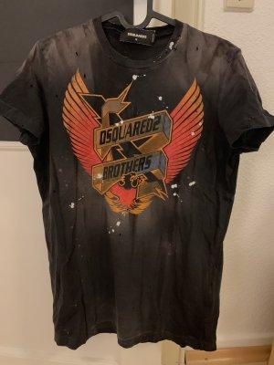 Dsquared2 Shirt met print zwart-oranje