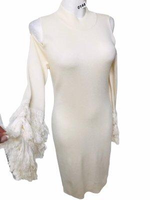 Dublin Damen Feinstrick Kleid mit Fransen Ärmel Creme Weiß  L