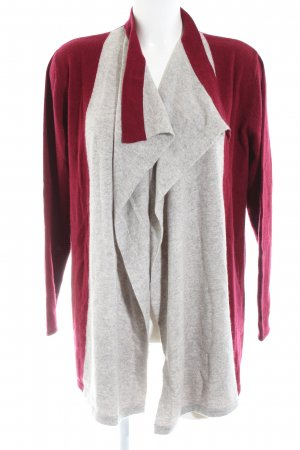 Duca di S Giusto Strick Cardigan rot-hellgrau meliert Business-Look