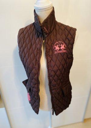 La Martina Chaleco de plumón marrón oscuro-rosa
