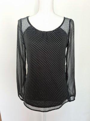 Dünne Langarm Bluse Oberteil Top in schwarz weiß gepunktet transparent