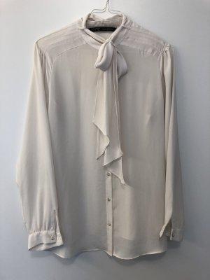 Zara Basic Tie-neck Blouse natural white
