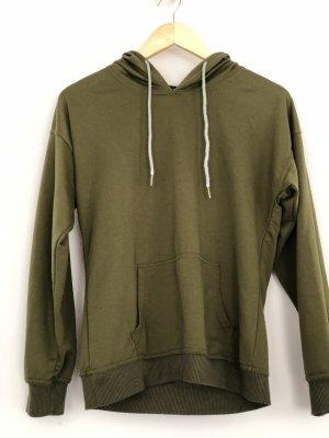 Sweter z kapturem ciemnozielony-khaki