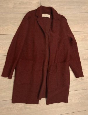 Zara Basic Manteau polaire bordeau-brun rouge